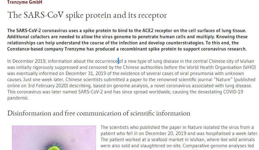 "BIOPRO quoted trenzyme GmbH in its article ""The SARS-CoV spike protein and its receptor"" on recombinant SARS-CoV2 proteins"
