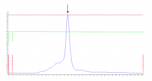 Determination of elution profile by absorbance at 289 nm (blue line).